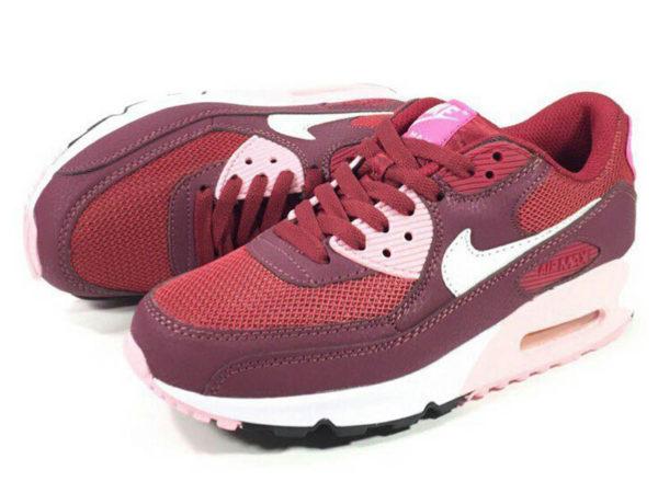 Кроссовки Nike Air Max 90 красные с бордовым женские