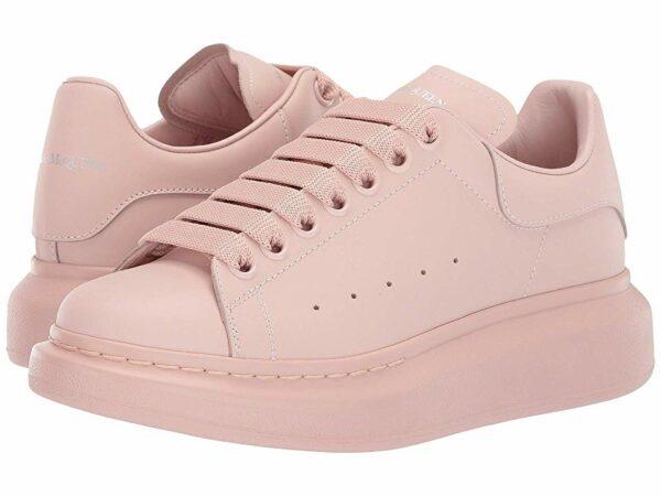 Розовые кожаные кроссовки